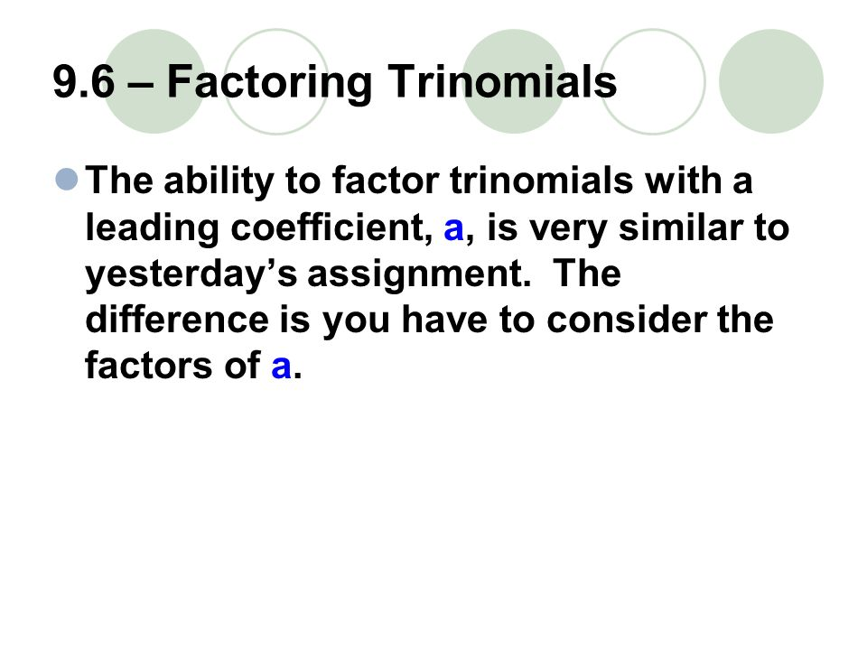factoring trinomials assignment