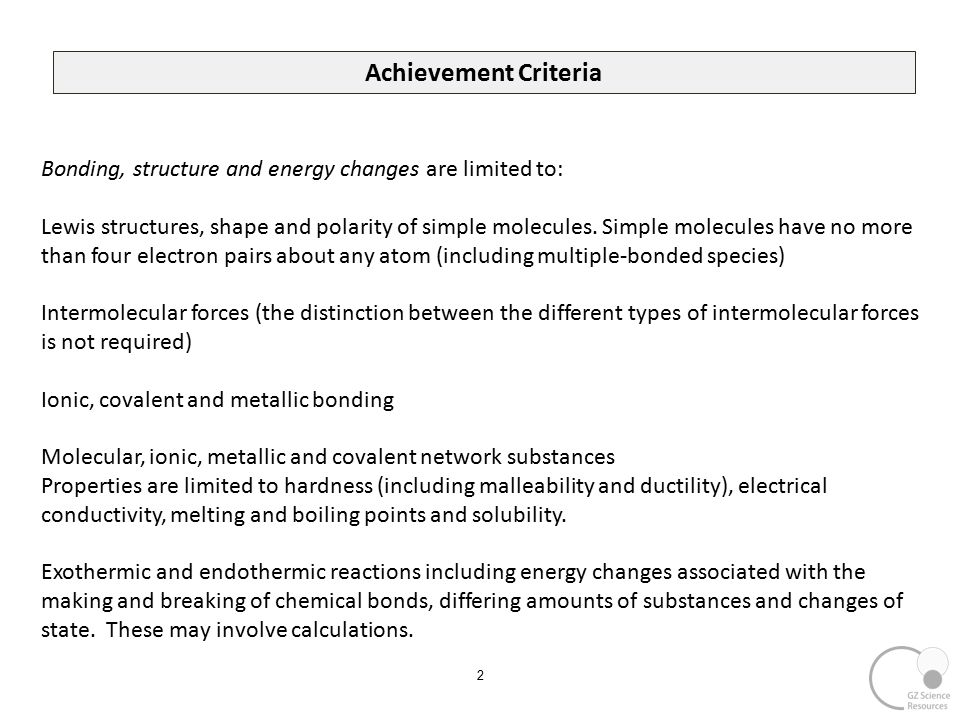 Chemistry NCEA L2 2.4 Bonding, Structure and Energy ppt download