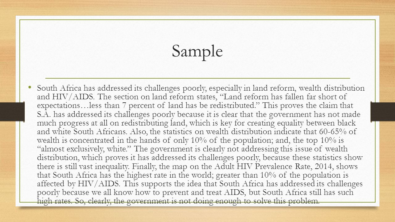 aids in south africa thesis statement Africa is the worst hit continent in the world by hiv/aids botswana has 358% of it's adult population infected south africa comes second with 199% infected.