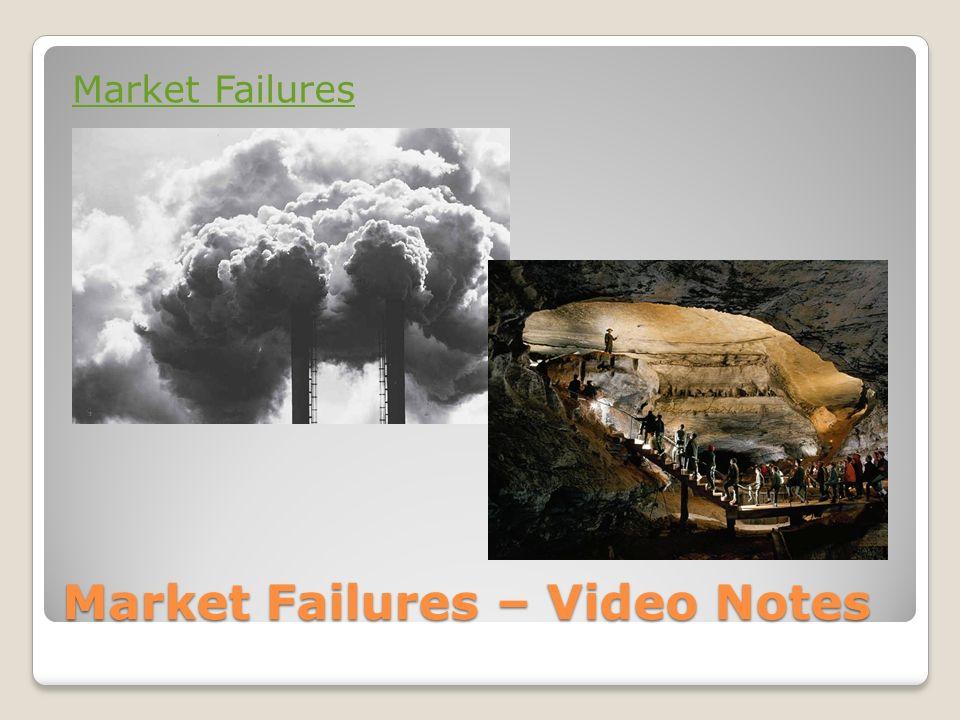 Market Failures – Video Notes Market Failures