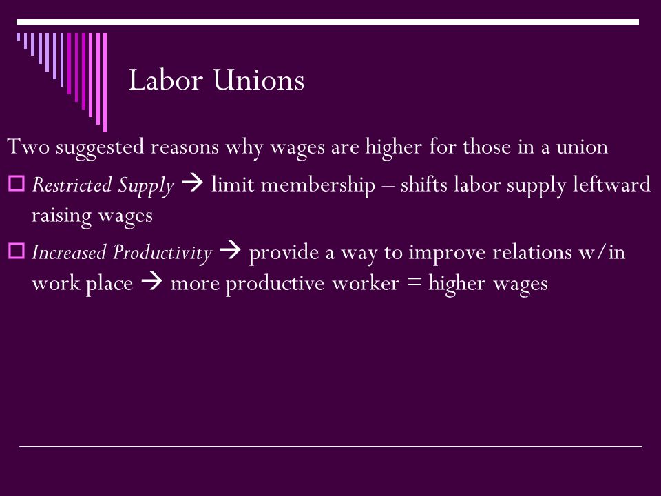 Labor Unions Two suggested reasons why wages are higher for those in a union  Restricted Supply  limit membership – shifts labor supply leftward raising wages  Increased Productivity  provide a way to improve relations w/in work place  more productive worker = higher wages