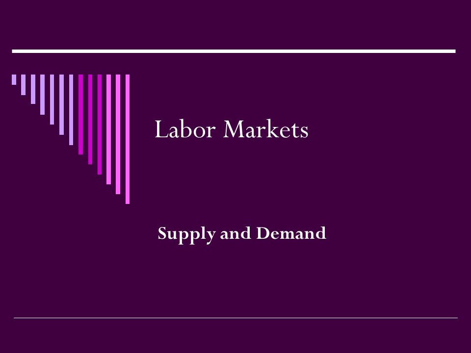 Labor Markets Supply and Demand