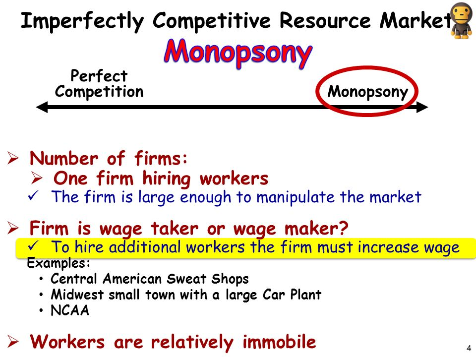  Number of firms:  One firm hiring workers The firm is large enough to manipulate the market  Firm is wage taker or wage maker.