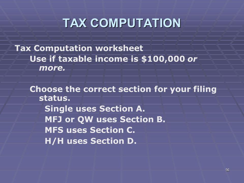 Tax Computation Worksheet 2014 Bhbrinfo – Tax Worksheet 2014