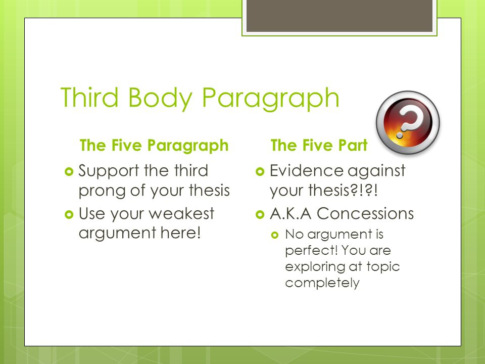 easy topics for 5 paragraph essays The five-paragraph essay is a format of essay having five paragraphs: one introductory paragraph, three body paragraphs with support and development, and one concluding paragraph because of this structure, it is also known as a hamburger essay, one three one, or a three-tier essay.