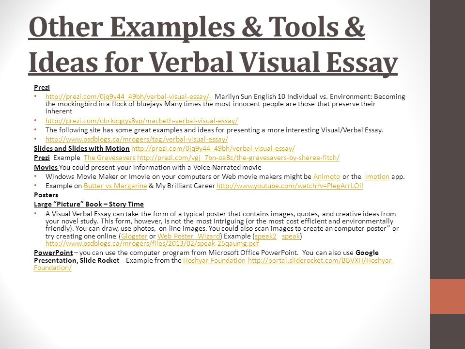 isu verbal visual essay Journalism majors at isu are taught this wide range of essential skills verbal skills submission of online application form and essay academic advising name.