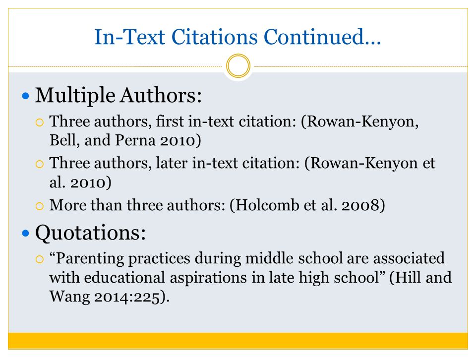 In text citations for multiple authors
