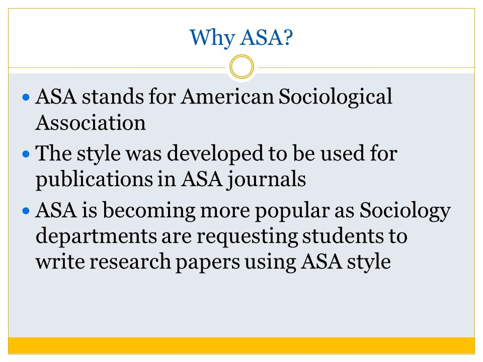 asa style generator Formatting in sociology (asa style) - the owl at purdue about us the population studies center (psc) at the university of pennsylvania (penn) has fostered research and training in population since 1962, with support from the nichd p30 program from 1978-2003 and the r24 population research infrastructure program since 2003.