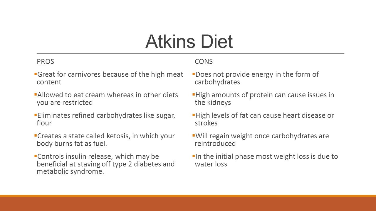 Atkins Diet PROS Great For Carnivores Because Of The High Meat Content Allowed To