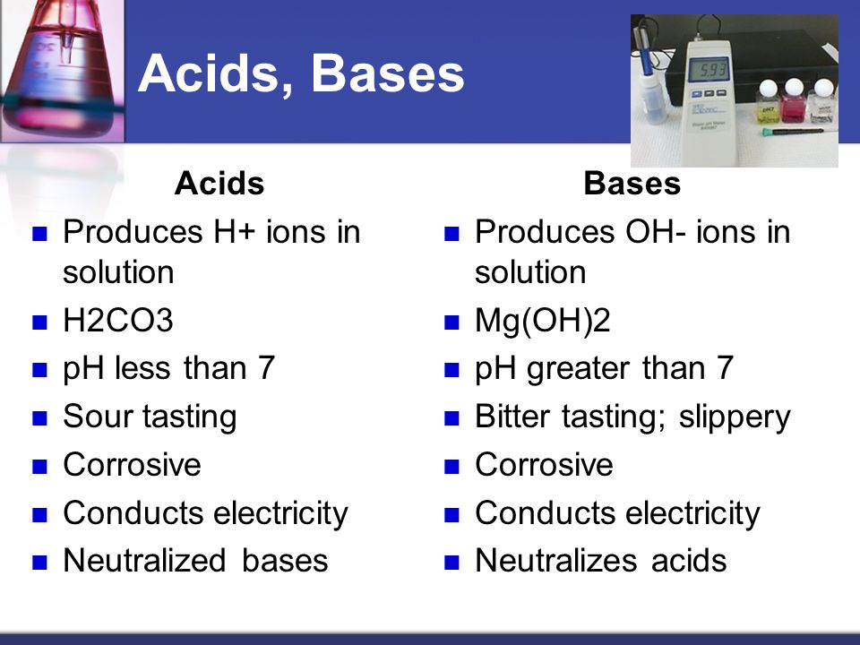 Acids, Bases Acids Produces H+ ions in solution H2CO3 pH less than 7 Sour tasting Corrosive Conducts electricity Neutralized bases Bases Produces OH- ions in solution Mg(OH)2 pH greater than 7 Bitter tasting; slippery Corrosive Conducts electricity Neutralizes acids