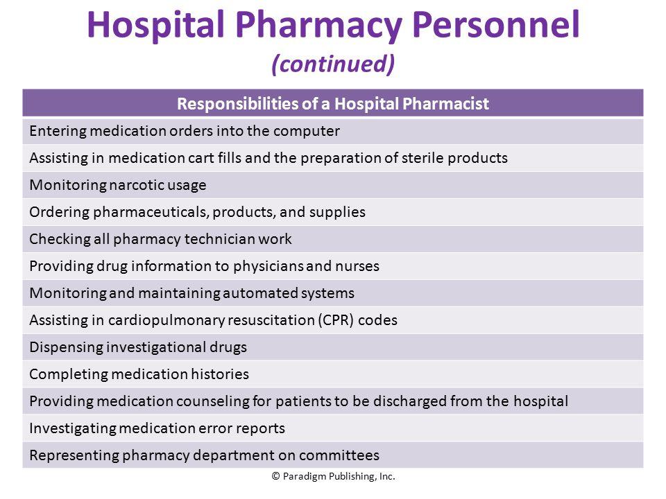 Hospital Pharmacy © Paradigm Publishing, Inc.. Chapter Topics ...
