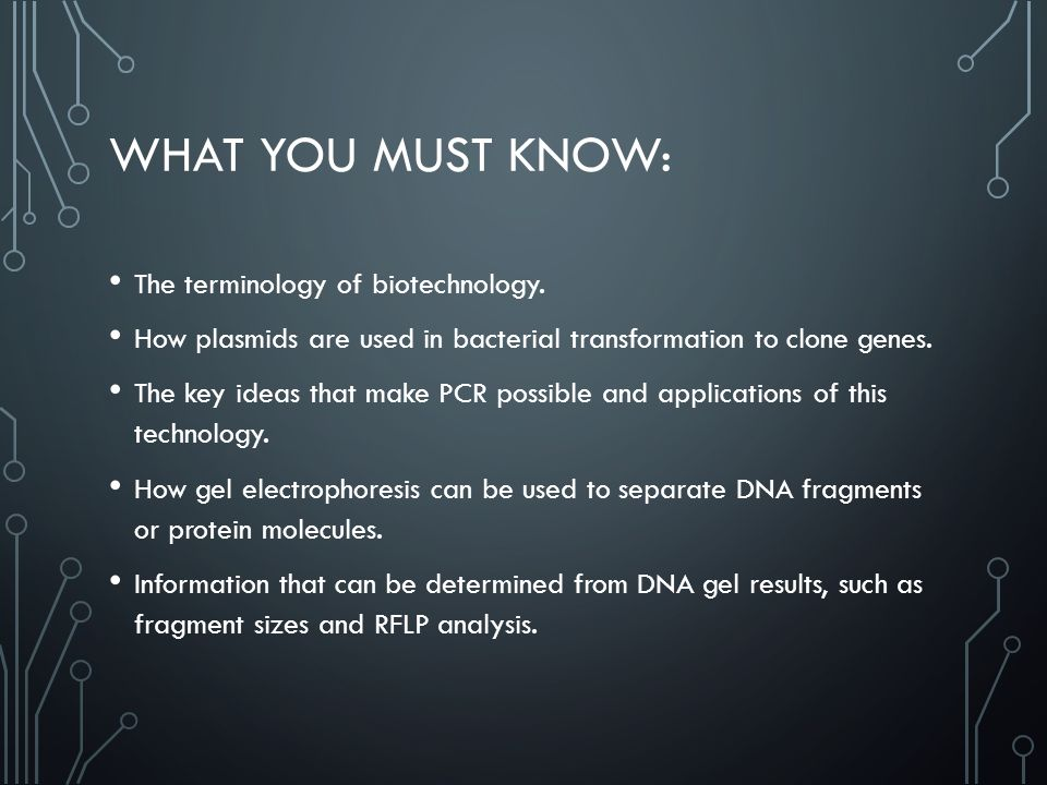 WHAT YOU MUST KNOW: The terminology of biotechnology.