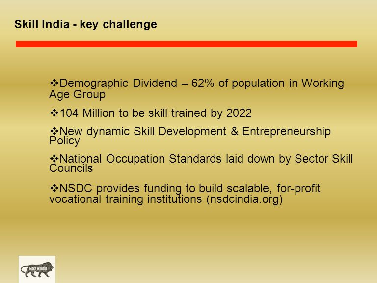 Skill India - key challenge  Demographic Dividend – 62% of population in Working Age Group  104 Million to be skill trained by 2022  New dynamic Skill Development & Entrepreneurship Policy  National Occupation Standards laid down by Sector Skill Councils  NSDC provides funding to build scalable, for-profit vocational training institutions (nsdcindia.org)