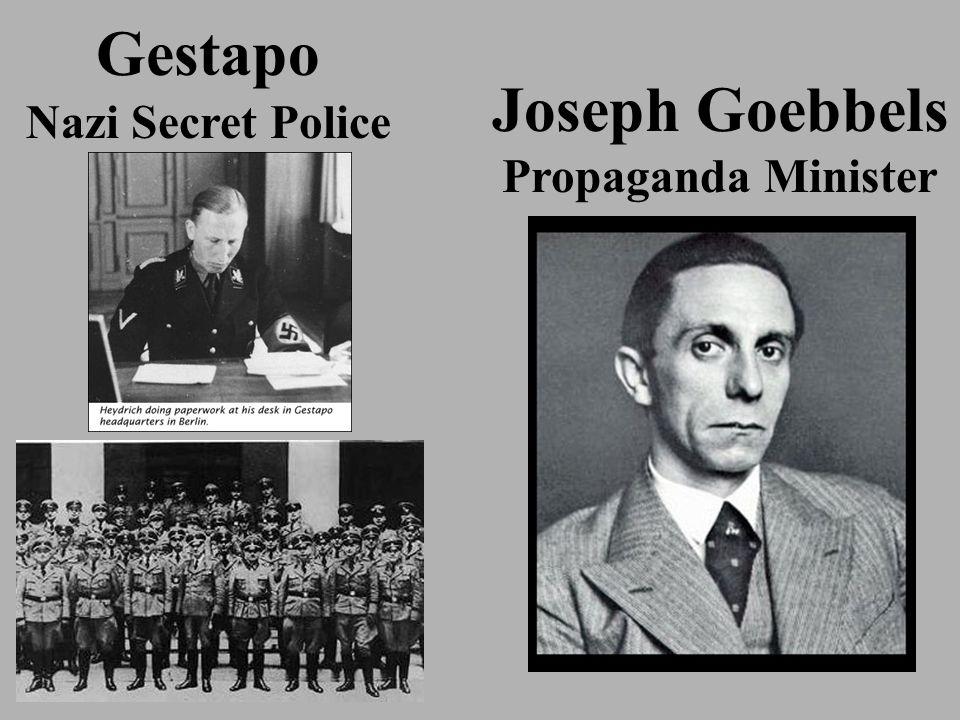 Gestapo Nazi Secret Police Joseph Goebbels Propaganda Minister