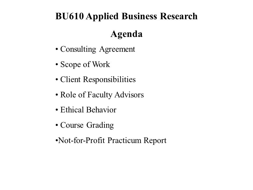 Bu Applied Business Research  Section A Waterloo PartTime