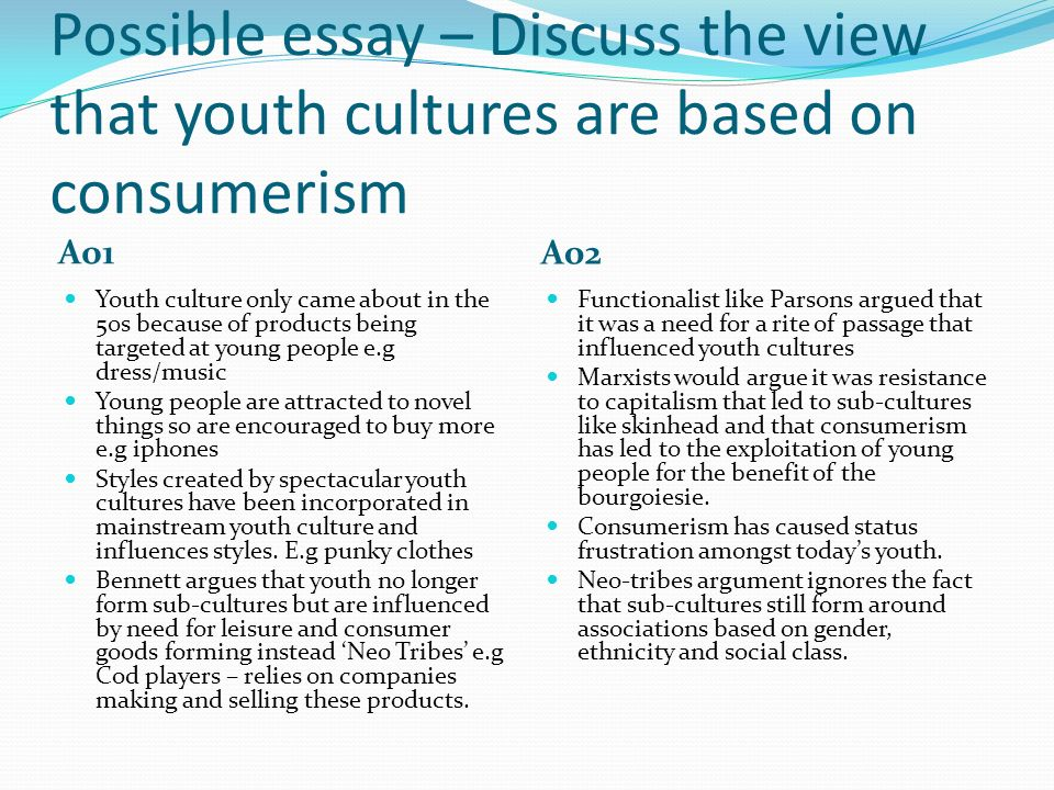 how have the lives of young people changed over the past years  possible essay discuss the view that youth cultures are based on consumerism ao1 ao2 youth
