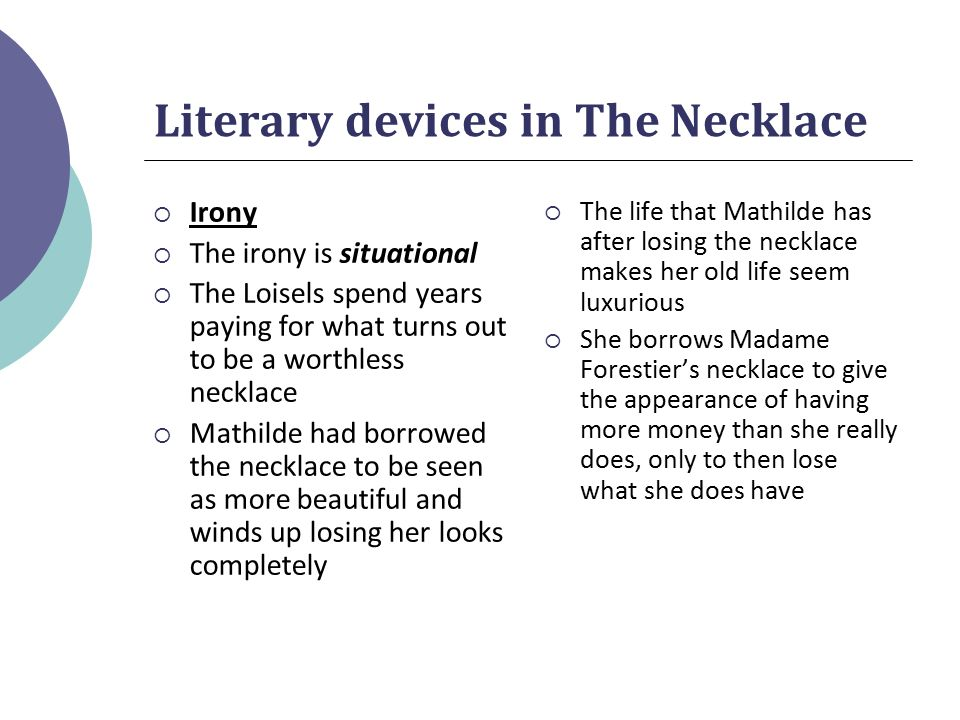 types of irony in the necklace Review of the 3 types of irony includes application and a link to an adapted version of the necklace.