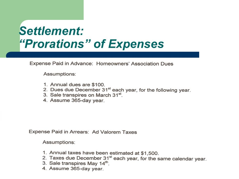 Settlement: Prorations of Expenses
