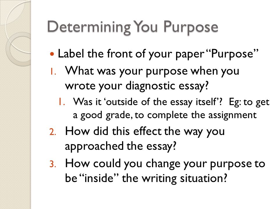 the writing process pp discuss purpose analyze diagnostic 3 determining