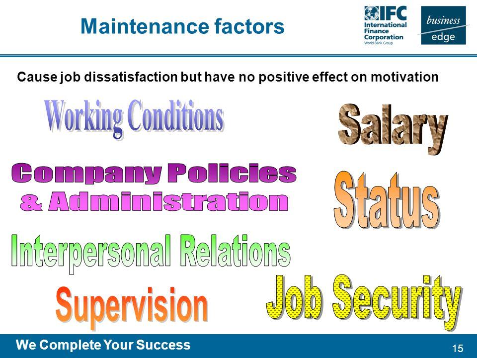 15 We Complete Your Success Maintenance factors Cause job dissatisfaction but have no positive effect on motivation