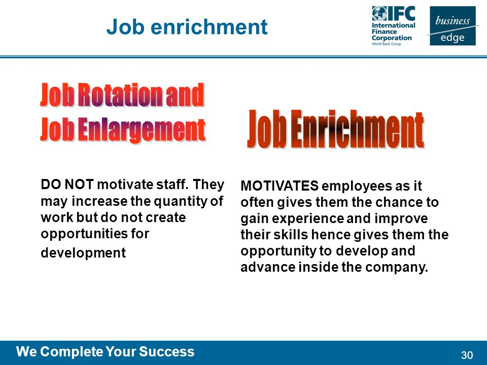 30 We Complete Your Success DO NOT motivate staff.