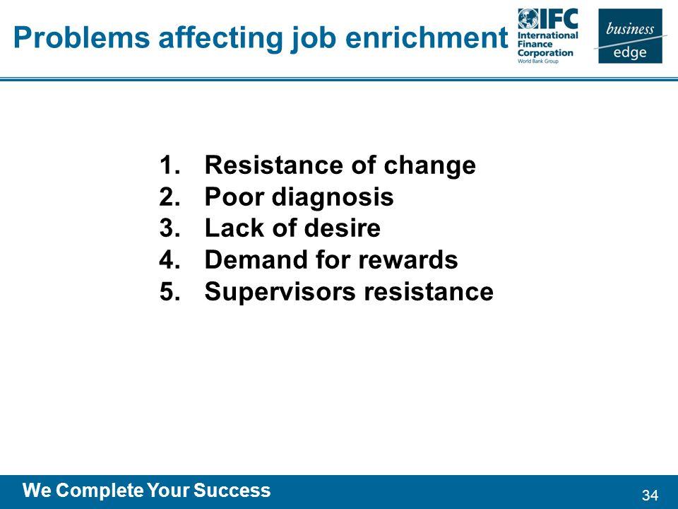 34 We Complete Your Success 1.Resistance of change 2.Poor diagnosis 3.Lack of desire 4.Demand for rewards 5.Supervisors resistance Problems affecting job enrichment