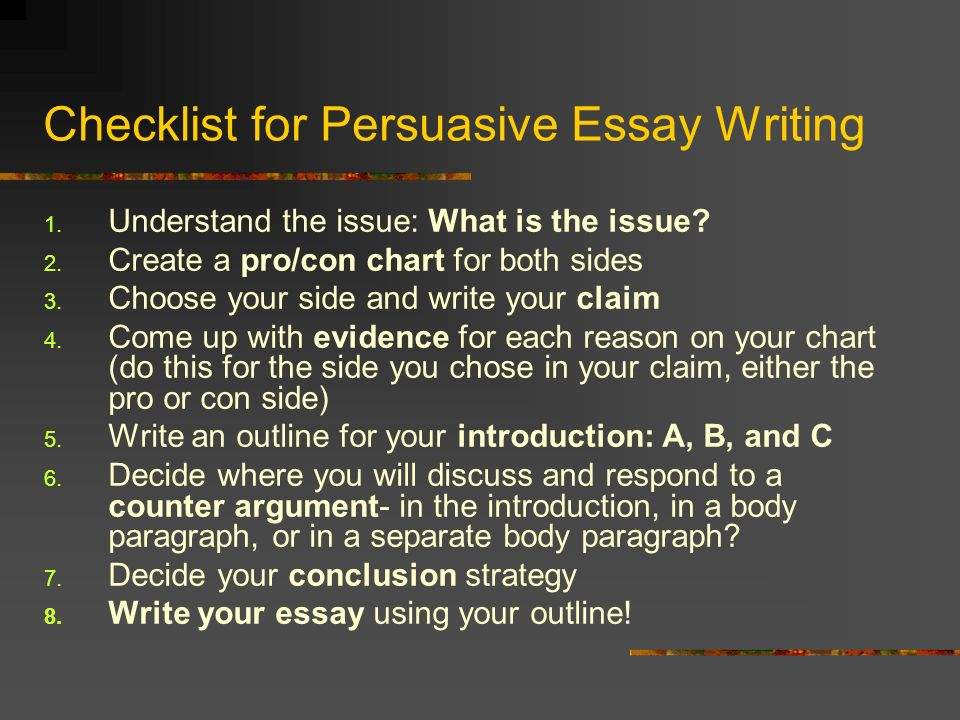 to write a perswasive essay Do you need some tips that can help you to write a good persuasive essay iwriteessayscom will give you guidelines to that will help you come out with the best persuasive essays.