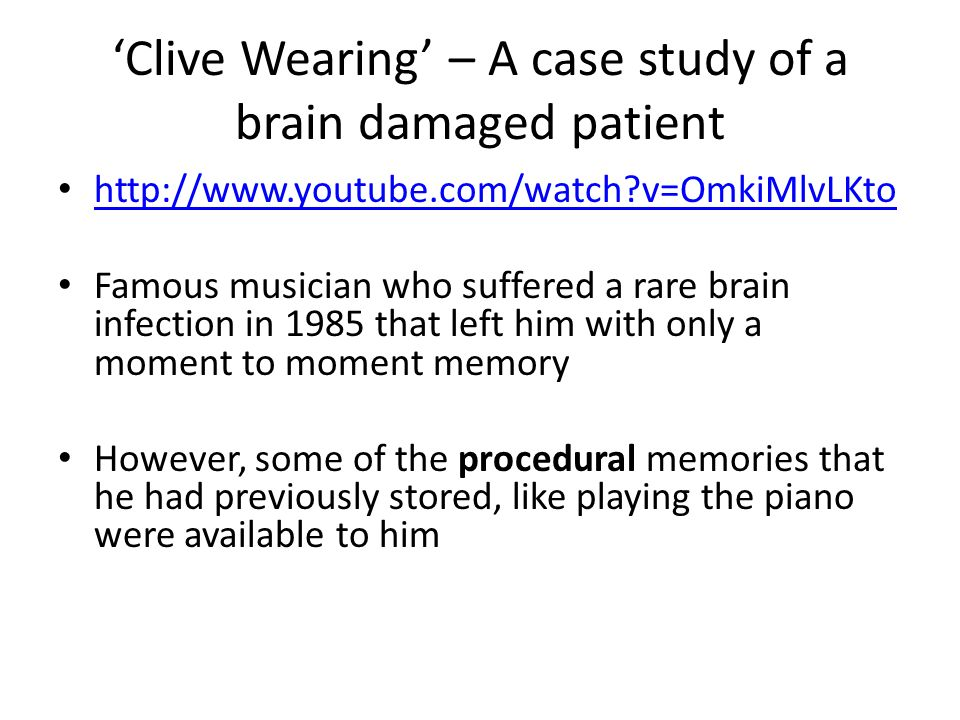 clive wearing Clive wearing has one of the very serious cases of amnesia in the world the virus attack damaged the brain of clive he was very confused and couldn't remember.
