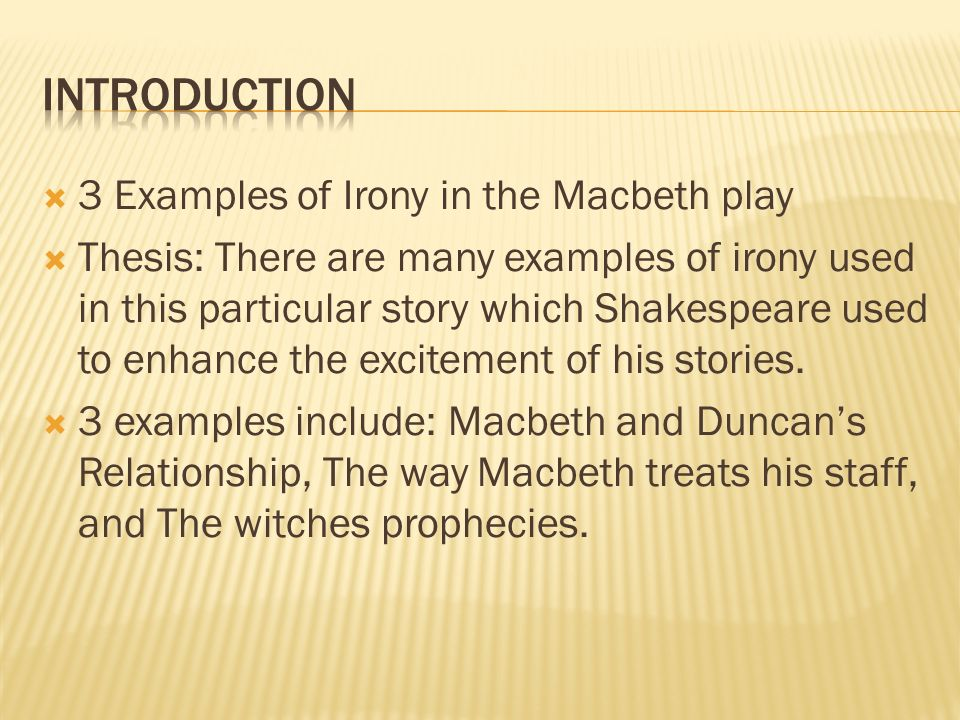 irony and symbolism in the play macbeth