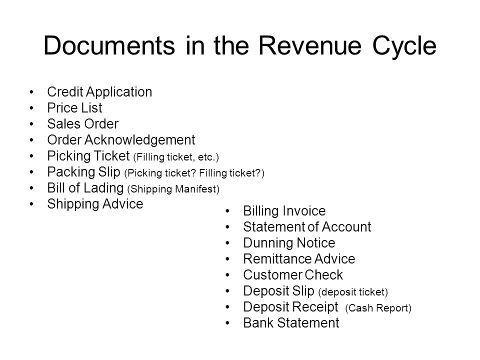 Overview of the Revenue Cycle September 25 ppt download – Remittance Advice Slip