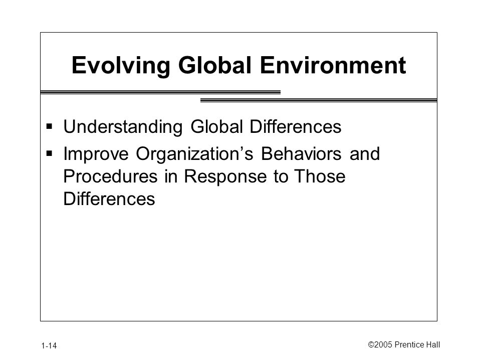 1-14 ©2005 Prentice Hall Evolving Global Environment  Understanding Global Differences  Improve Organization's Behaviors and Procedures in Response to Those Differences