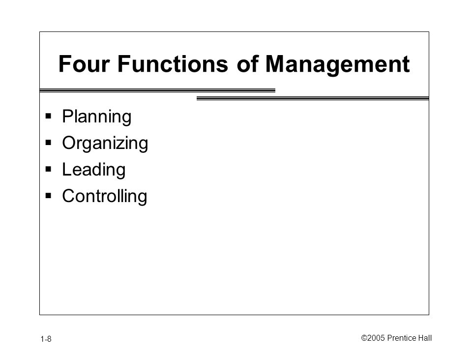 1-8 ©2005 Prentice Hall Four Functions of Management  Planning  Organizing  Leading  Controlling