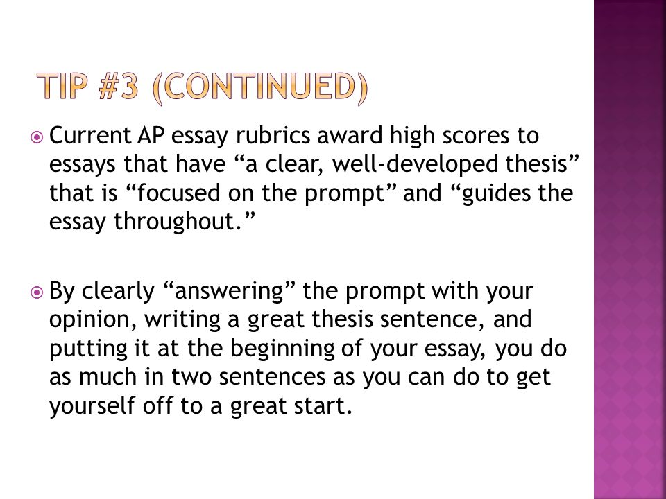 the thesis sentence the thesis sentence is the most important  13  current ap essay