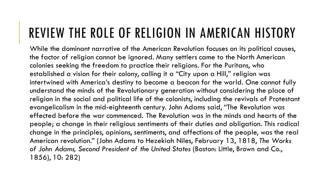the role of religion in history Religion in african american history useful sources for considering the role of religion in shaping american religious history, by.