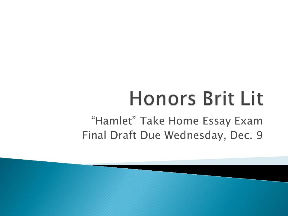 "hamlet"" take home essay exam final draft due wednesday dec ppt  1 ""hamlet"""