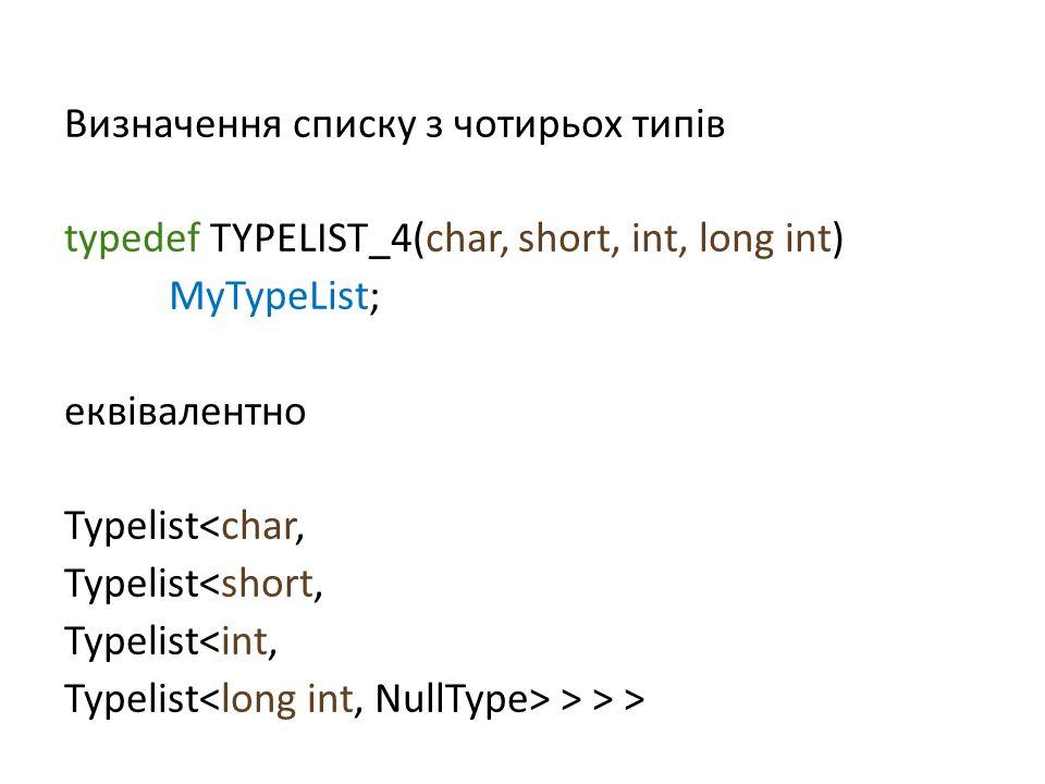 Визначення списку з чотирьох типів typedef TYPELIST_4(char, short, int, long int) MyTypeList; еквівалентно Typelist<char, Typelist<short, Typelist<int, Typelist > > >