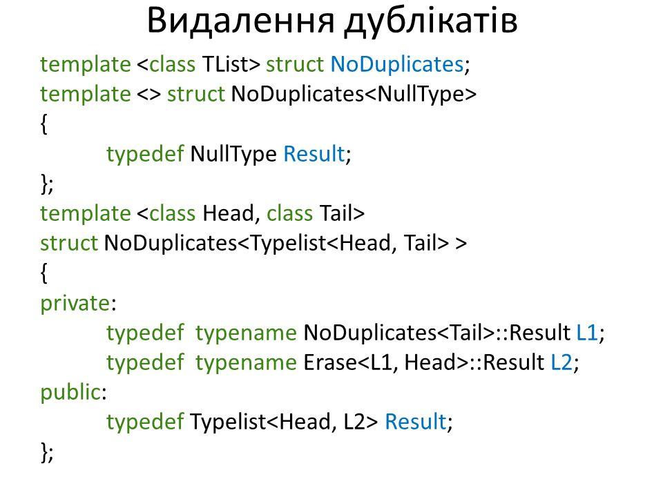 Видалення дублікатів template struct NoDuplicates; template <> struct NoDuplicates { typedef NullType Result; }; template struct NoDuplicates > { private: typedef typename NoDuplicates ::Result L1; typedef typename Erase ::Result L2; public: typedef Typelist Result; };