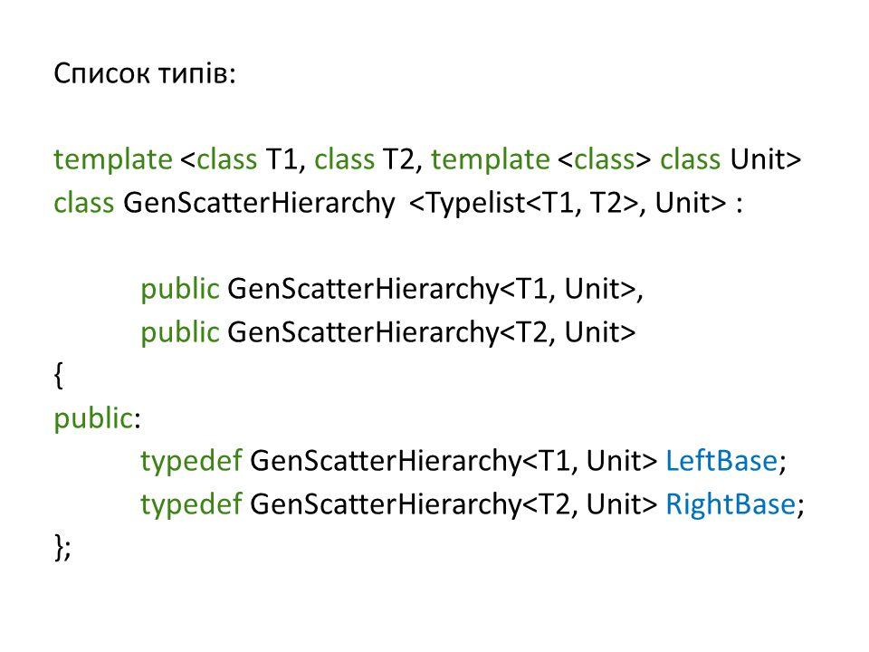 Список типів: template class Unit> class GenScatterHierarchy, Unit> : public GenScatterHierarchy, public GenScatterHierarchy { public: typedef GenScatterHierarchy LeftBase; typedef GenScatterHierarchy RightBase; };