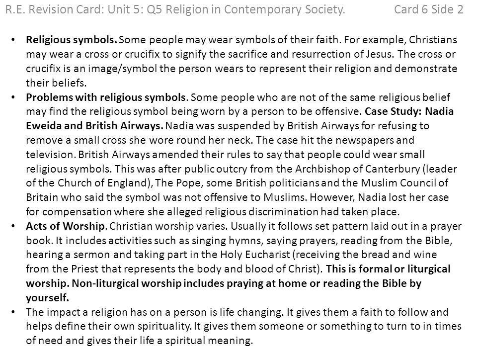 Re Revision Card Unit 5 Q1 Religion And Art Card 1 Side 1