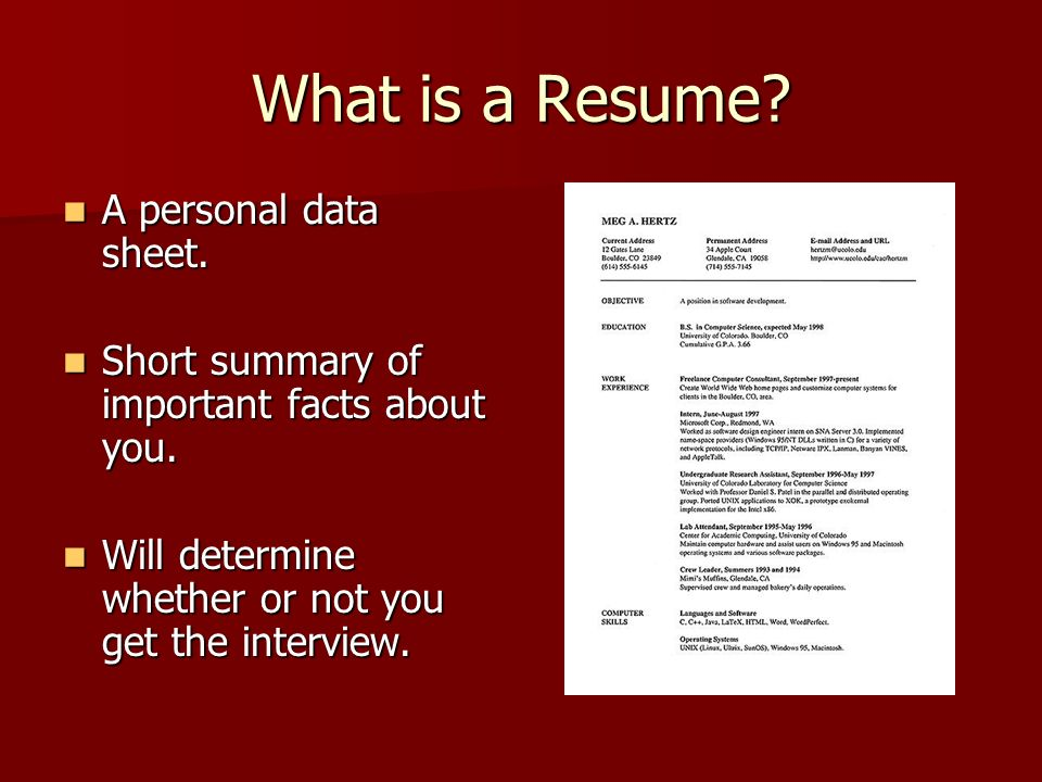 What Is A Resume. A Personal Data Sheet. A Personal Data Sheet.  What Are Resumes