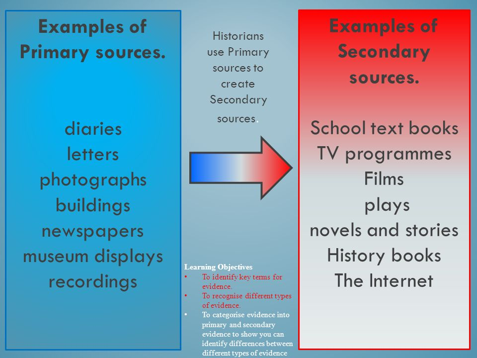 Primary sources secondary sources