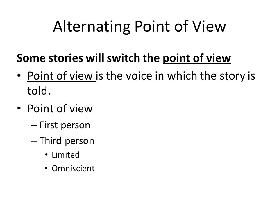 Stories in the First Person?