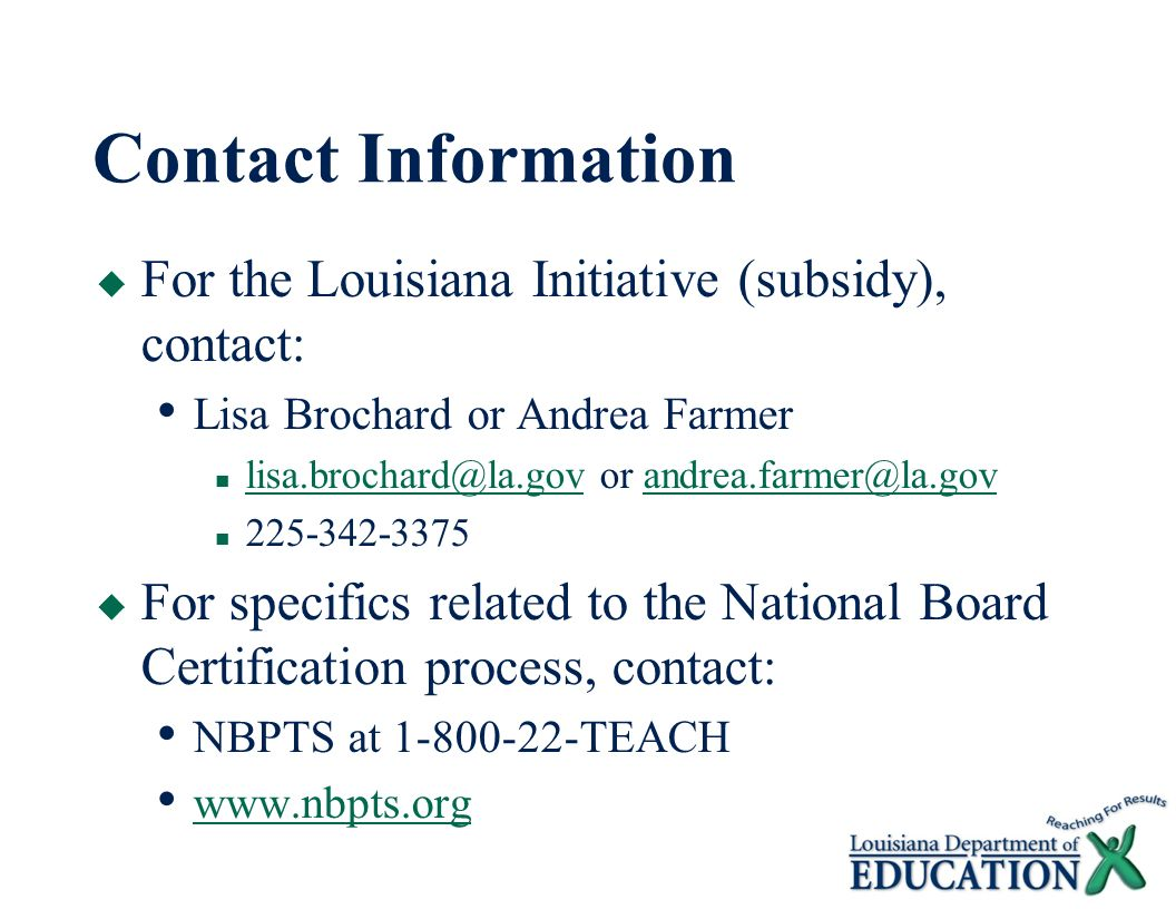 National board certification for teachers louisiana initiative 19 contact information for the louisiana 1betcityfo Images