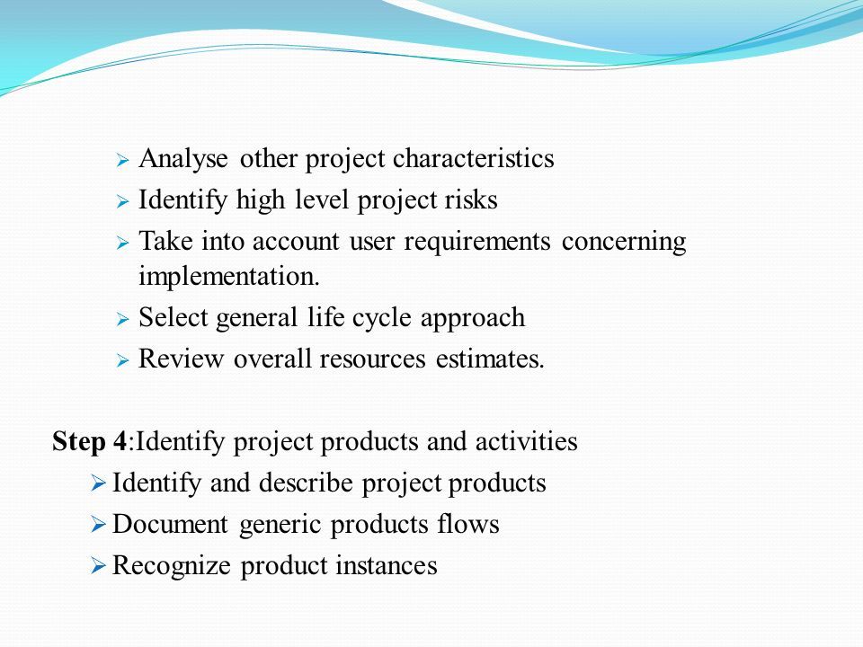  Analyse other project characteristics  Identify high level project risks  Take into account user requirements concerning implementation.