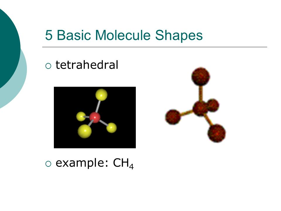 5 Basic Molecule Shapes  tetrahedral  example: CH 4