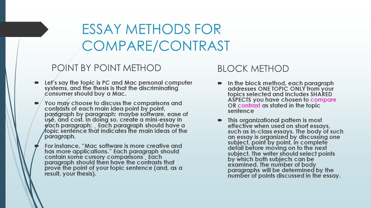 Compare And Contrast Essay Point By Point Method Compare And Compare And Contrast  Essay Point By