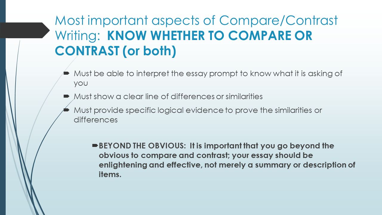 compare and contrast essay writing purpose to reveal 4 most important aspects of compare contrast
