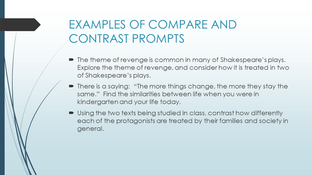 compare and contrast essay writing purpose to reveal examples of compare and contrast prompts iuml130acute the theme of revenge is common in many of