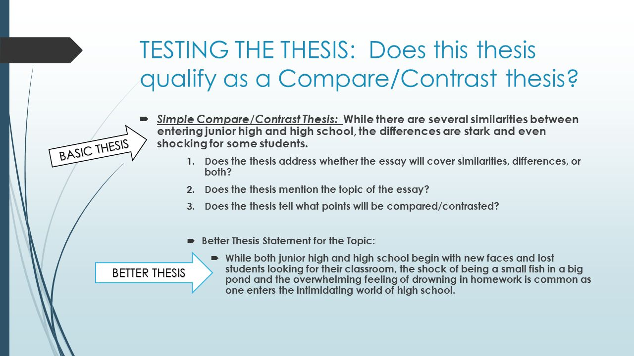compare and contrast essays - thesis statements