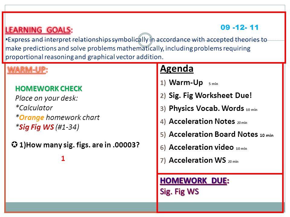 Agenda 1 WarmUp 5 min 2 Sig Fig Worksheet Due 3 Physics – Acceleration Worksheet
